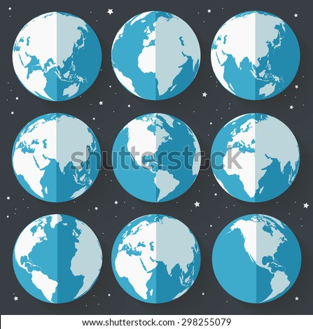 Globe earth icons. Flat style. Vector illustration - stock vector