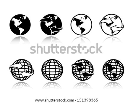 Globe Earth Icons Set - Isolated On White Background - Vector Illustration, Graphic Design Editable For Your Design.  Globe Logo