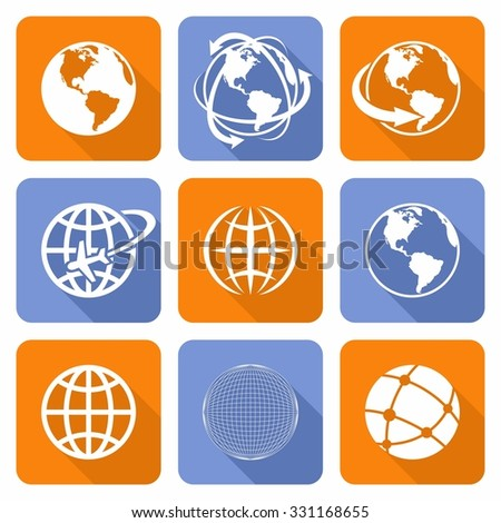 Globe Earth orange and blue Icons Set. Vector Illustration