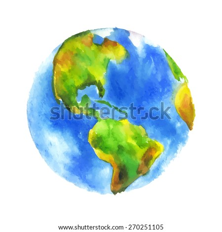 Globe Earth painted watercolor. Hand drawing. Vectorized watercolor illustration. - stock vector