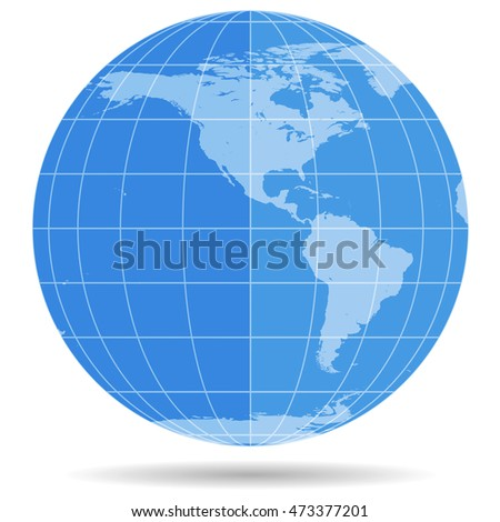 Globe Earth symbol flat icon isolated on white background. America, Antarctica, Arctic. Vector illustration