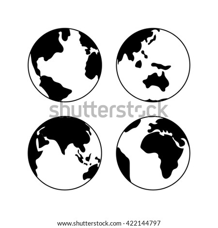 Globe Earth Vector Black Icons Set, Vector Globe Signs Isolated On White.  Globe Icons