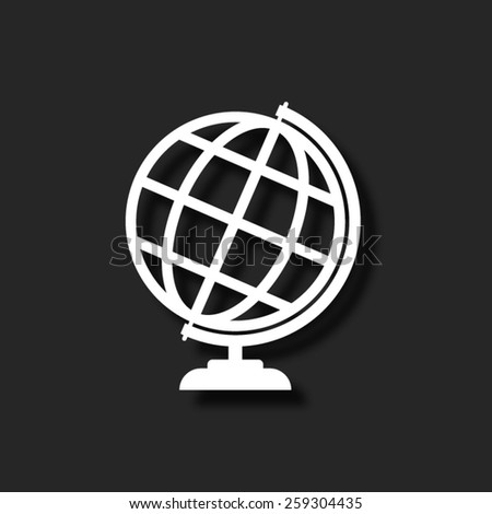 Globe earth - vector icon with shadow - stock vector