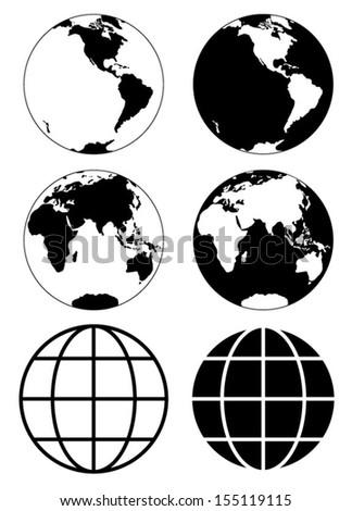 Globe earth vector icons - stock vector