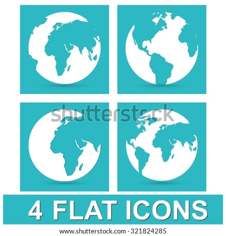 Globe earth vector icons set  on blue background - stock vector