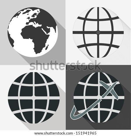 Globe earth vector icons set With Long Shadow