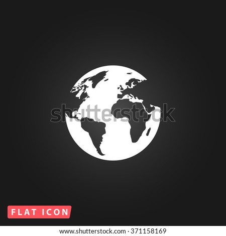 Globe earth. White flat simple vector icon on black background. Icon JPEG JPG. Icon Picture Image. Icon Graphic Art. Icon EPS AI. Icon Drawing Object. Icon Path UI - stock vector