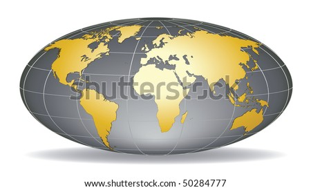 Globe earth with detailed golden world map, placed in five layers