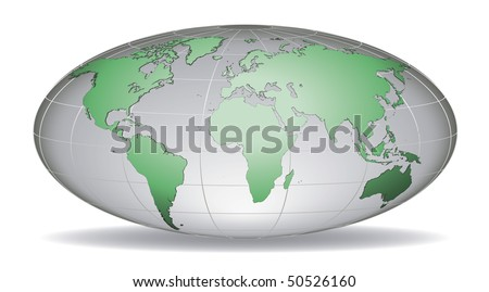 Globe earth with detailed green world map, placed in five layers
