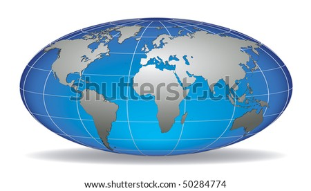 Globe earth with detailed silver world map, placed in five layers