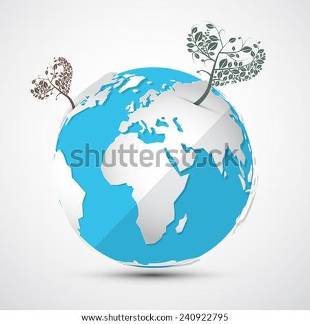 Globe - Earth with Heart Shaped Trees - stock vector