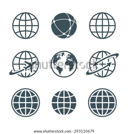 globe, earth, world icons set isolated on white background. ball wire, globe and airplane, globe with arrow. vector illustration - stock vector
