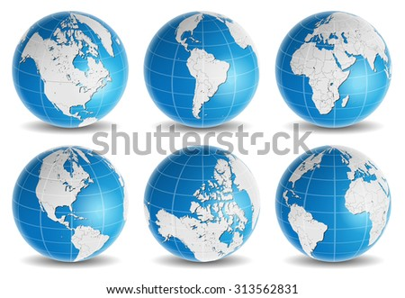 globe earth world map vector set