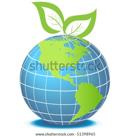 Globe facing Americas with green leaves