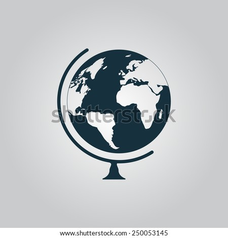 Globe. Flat web icon, sign or button isolated on grey background. Collection modern trend concept design style vector illustration symbol - stock vector