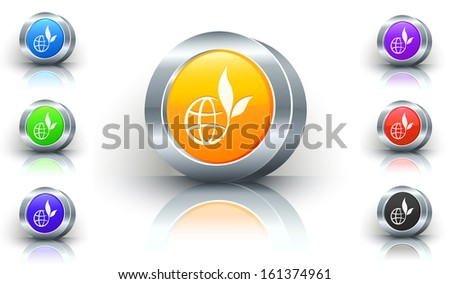 Globe Flower Color Button Set - stock vector