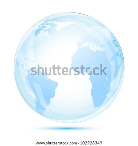 Globe glass in blue on white background - stock vector