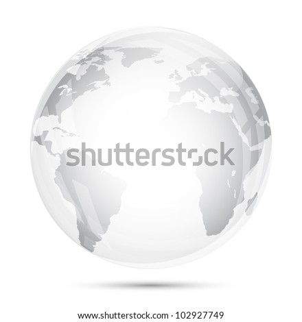 Globe glass isolated on white - stock vector