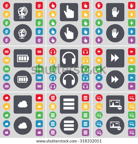 Globe, Hand, Battery, Headphones, Rewind, Cloud, Apps, Picture icon symbol. A large set of flat, colored buttons for your design. Vector illustration - stock vector