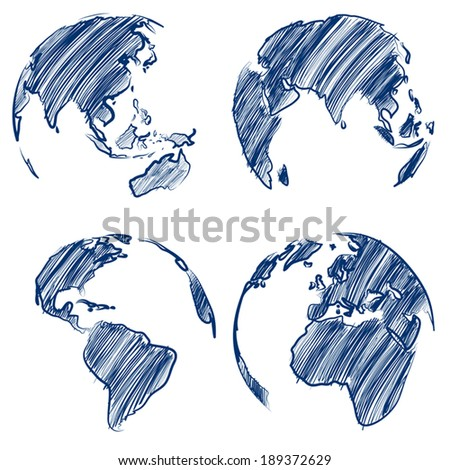 Globe hand drawn Vector Illustrator - stock vector