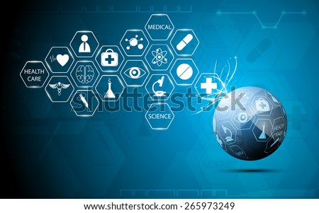 globe health care medical and science icon concept abstract background - stock vector