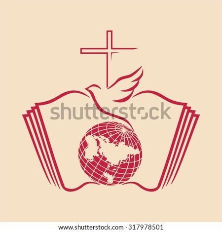 Globe, holy spirit, dove, cross, flame, Pentecost. Church logo. - stock vector