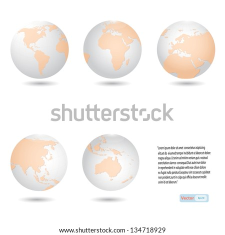 Globe icon all continent detail  map,Vector eps10 - stock vector