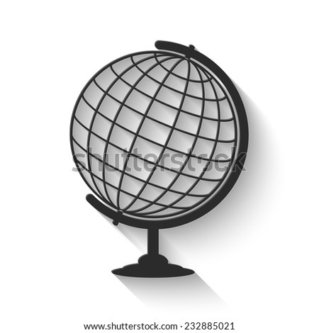 globe icon - gray vector illustration with shadow