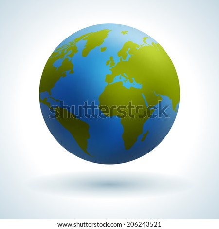 Globe icon. Green map of the continents of the world. Vector illustration. Smooth reflexes. - stock vector