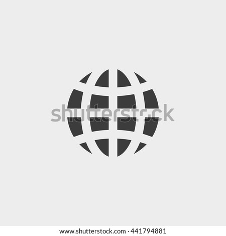globe icon in a flat design in black color. Vector illustration eps10 - stock vector
