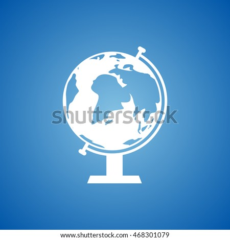 Globe Icon on blue color.