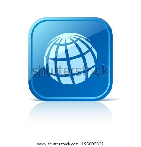 Globe icon on blue web button - stock vector
