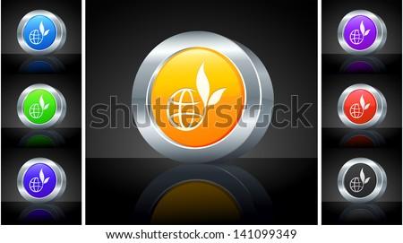 Globe Icon on 3D Button with Metallic Rim Original Illustration  - stock vector