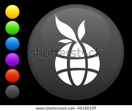 globe icon on round internet button original vector illustration 6 color versions included - stock vector
