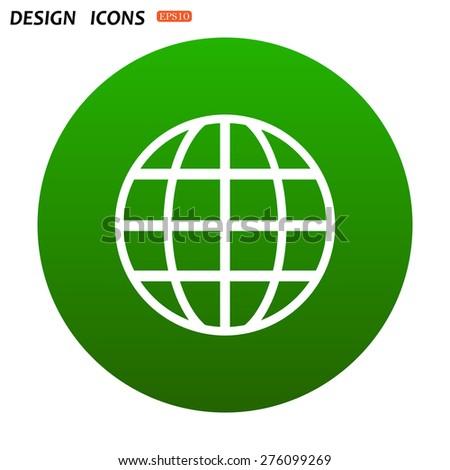Globe. icon. vector design - stock vector