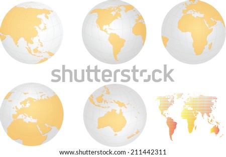 Globe icon with all continent map detail and dot pattern map,vector design  - stock vector