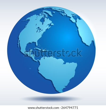 Globe icon with blue map of the continents of the world and vector shadow  - stock vector