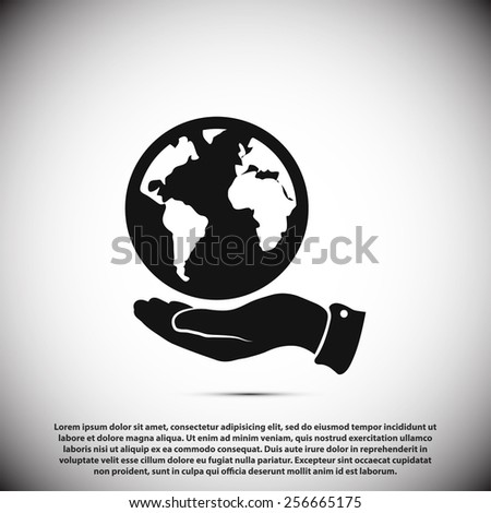 Globe icon with hand, vector illustration. Flat design style - stock vector
