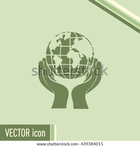 Globe icon with hands, vector illustration.