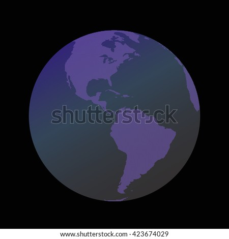 Globe icon with map consisting of pentagons. Globe icon with map continents of the world. Globe with continents in the form of honeycombs. Illustration of Earth isolated on dark background. - stock vector