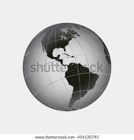Globe icon with  map of the continents of the world. Earth icon, Earth icon eps10, Earth icon vector, Earth icon eps, Earth icon flat,  Earth icon web, Earth icon art, Earth icon, Earth icon - stock vector