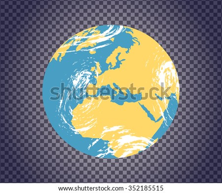 Globe icon with map of the continents of the world. Planet earth transparent. World map and globe detail. Earth map scheme isolated on transparency. Globe earth icon. Earth color - stock vector