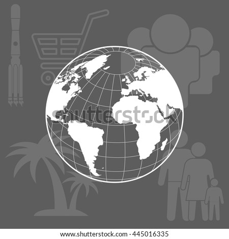 Globe icon with vector map of the continents of the world