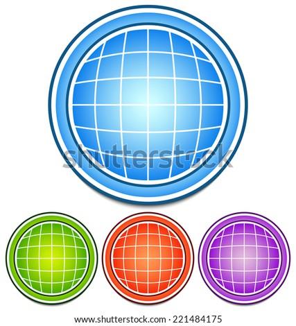 Globe icons - stock vector