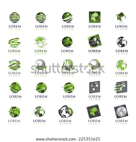 Globe Icons Set - Isolated On White Background - Vector Illustration, Graphic Design Editable For Your Design - stock vector