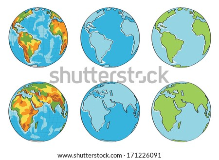 globe illustration with different colors vector