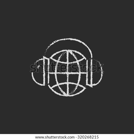 Globe in headphones hand drawn in chalk on a blackboard vector white icon isolated on a black background. - stock vector