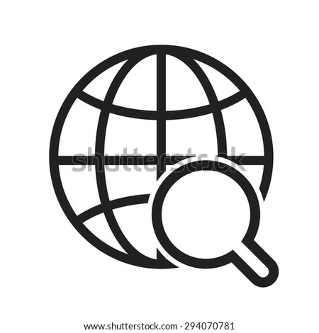 Globe, internet, world, magnifier icon vector image. Can also be used for SEO, digital marketing, technology. Suitable for web apps, mobile apps and print media. - stock vector