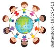 Globe kids. International friendship day. Earth day. Vector illustration of diverse Children Holding Hands. - stock photo