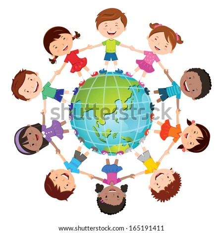 Globe kids. International friendship day. Earth day. Vector illustration of diverse Children Holding Hands. - stock vector